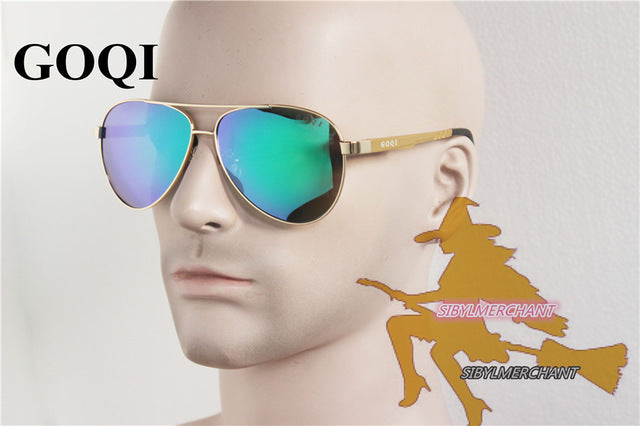 Goqi Brand Iconic Sunglasses Classical Pilot 61Mm Polarized Men Flat Metal Durable G8088