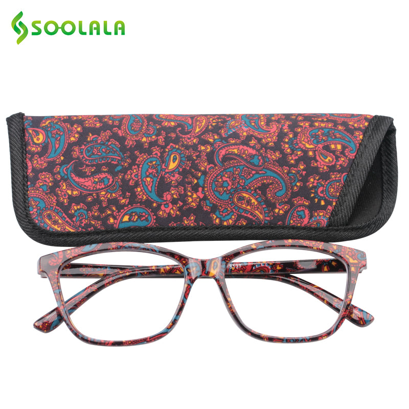 Soolala Brand Unisex Pocket Printed Reading Glasses Watching Pouch Cheap Spring Hinge Presbyopic +1.0 To 4.0