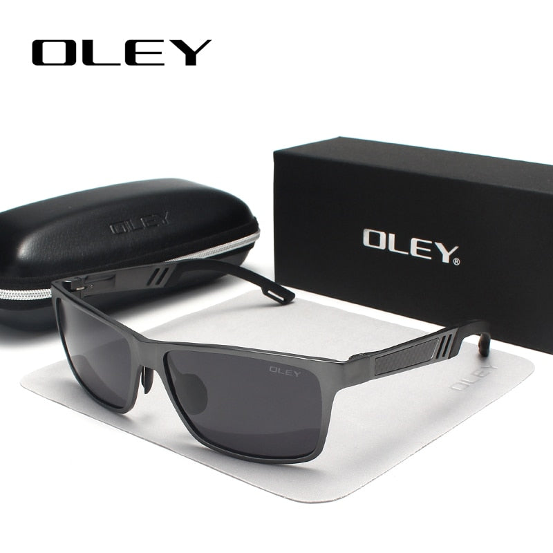 Oley Brand Men'S Rectangle Polarized Sunglasses Aluminum Magnesium Driving Hd Y6560