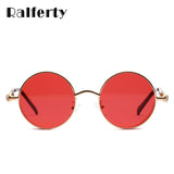 Ralferty Steampunk Sunglasses Men Women Vintage Round Metal Clear Red Lens Eyewear Retro Shades W1132