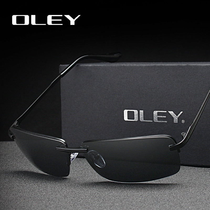 Oley Brands Men'S Rectangular Frameless Polarized Sunglasses Uv400 Mirror Y8905