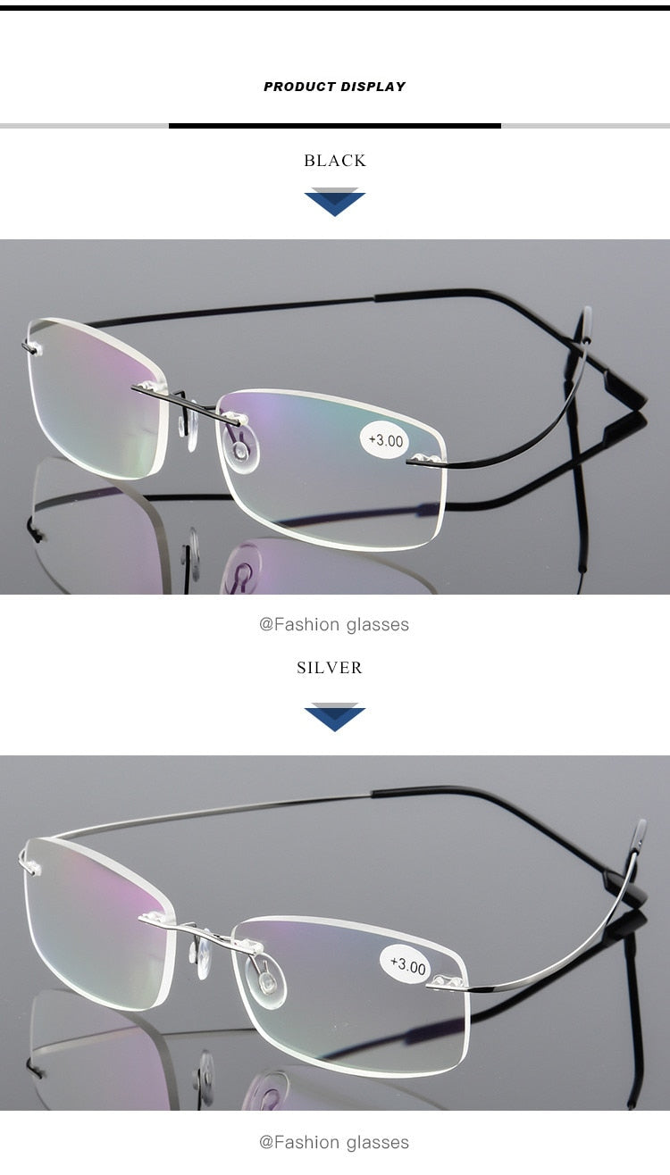 Aoubou Brand Unisex Stainless Steel Memory Frameless Reading Glasses Coating Lens Super-Elastic Slim Legs Ultralight +300 Weight 12G 7 Colors Ab915
