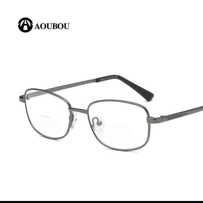 Aoubou Brand Unisex Reading Glasses Bifocal Double Focus Metal Full Frame Read Tv Newspaper Anti-Glare Ab888