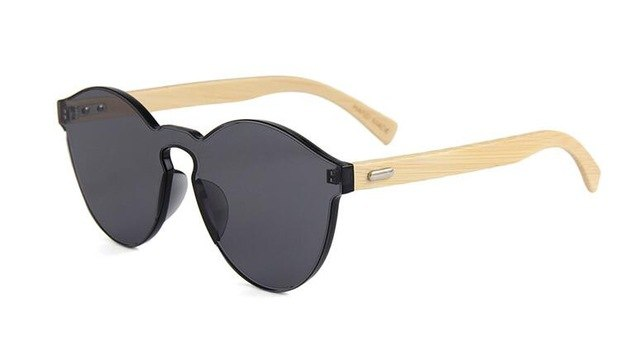 High Quality Men Women Round Sunglasses With Bamboo Wood Legs Mirror Reflective B2