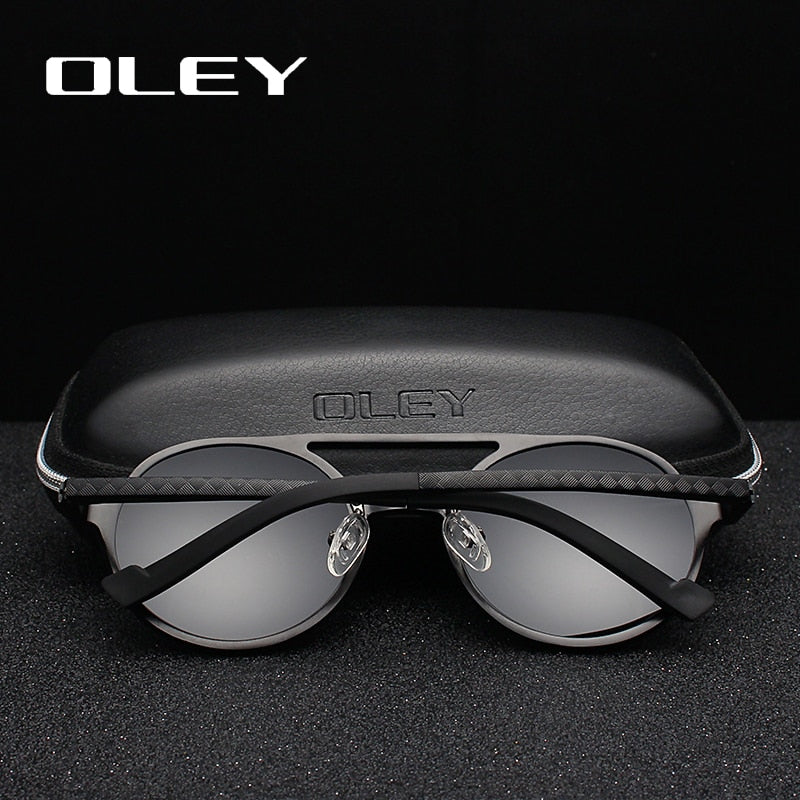 Oley Brand Men'S Round Aluminum-Magnesium Polarized Sunglasses Fashion Retro Women Anti-Glare Unisex Y7576