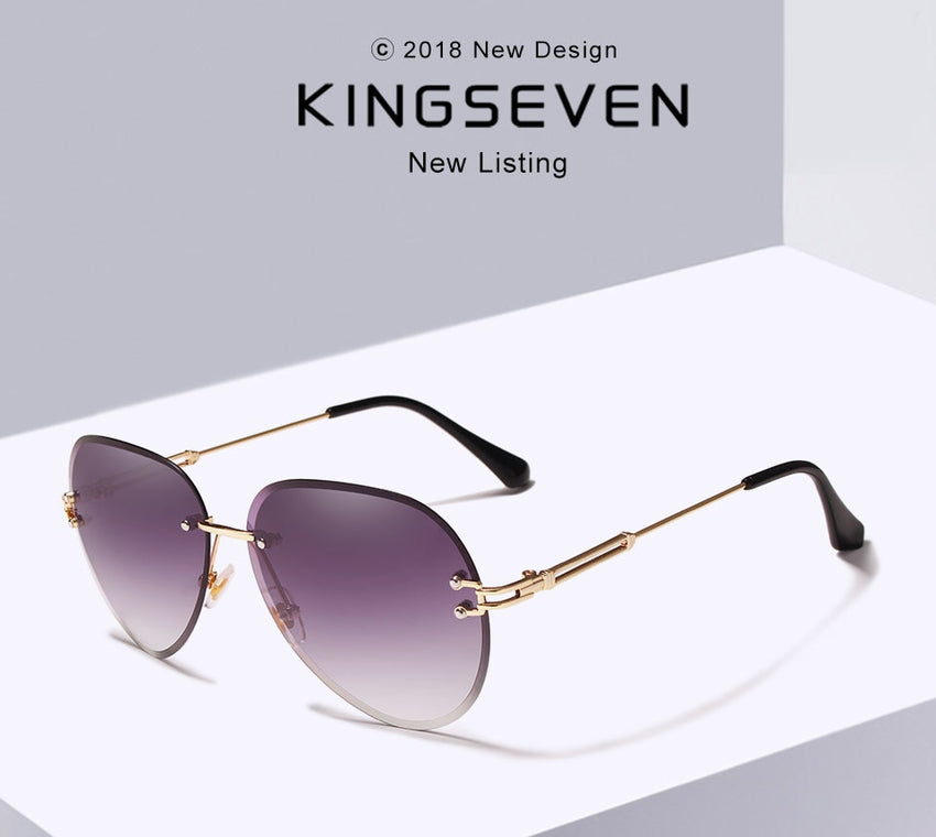 Kingseven Women Rimless Pilot Sunglasses Blue Gradient Lens N802