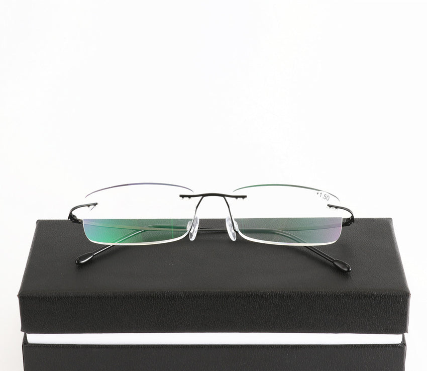 High Quality Unisex Ultra-Light Titanium Alloy Rimless Reading Glasses Men Flexible Frameless Presbyopic Glasses With Case
