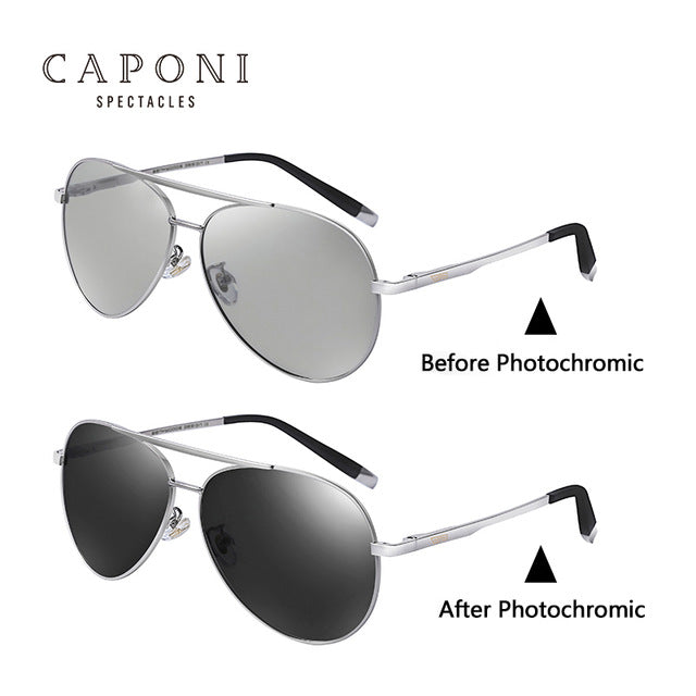 Caponi Brand Men'S Pilot Sunglasses Polarized Photochromic Driving Chameleon Discoloration 3136