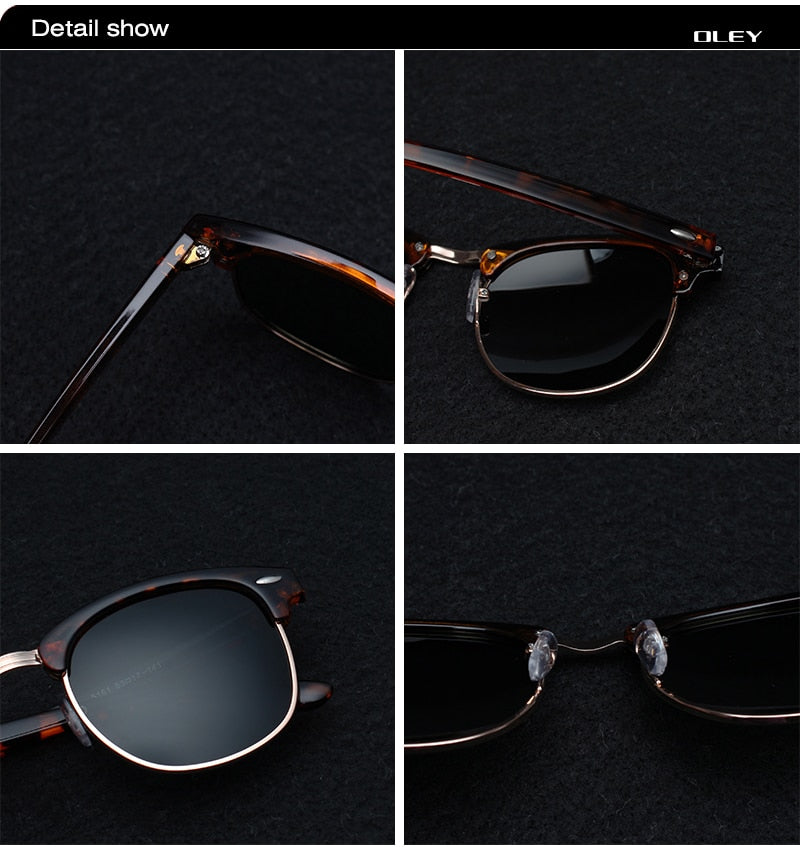 Oley Brand Women Retro Polarized Sunglasses Fashion Classic Round Uv Protection Unisex Y1605