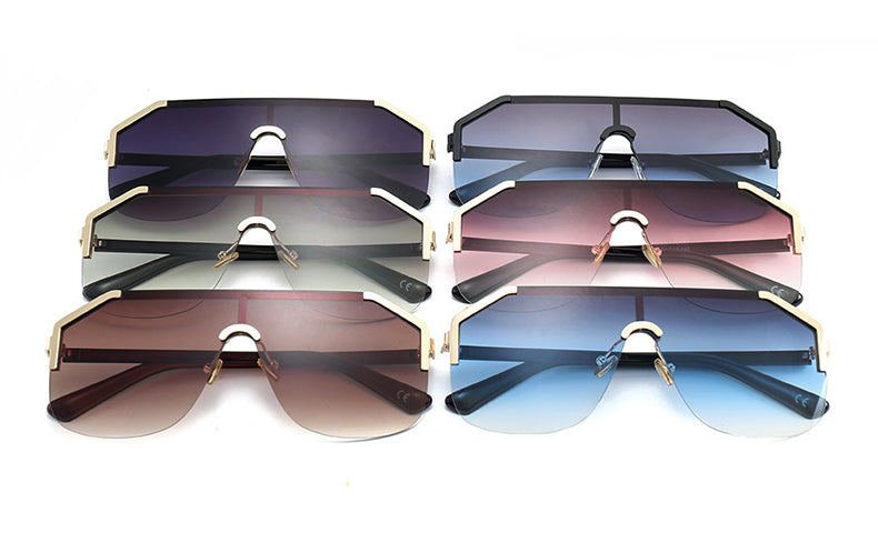 Jackjad Square Gradient Sunglasses Women Semi-Rimless 22071