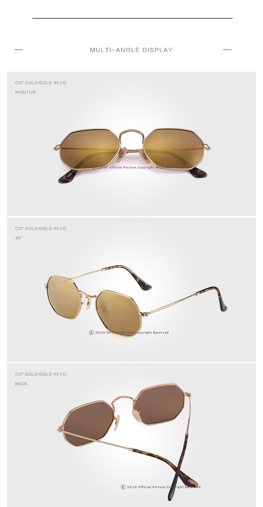 20/20 Brand Classic Polarized Men Sunglasses Women Vintage Unisex Metal Driving 17004
