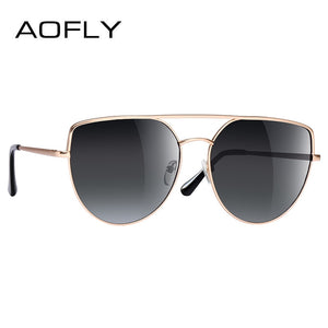 Aofly Brand Design Sunglasses Women Fashion Flat Top Vintage Retro Metal Twin-Beams Af2544