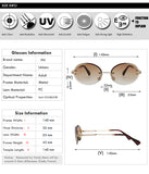 Xiu Retro Oval Sunglasses Women Frameless Gray Brown Clear Lens Rimless