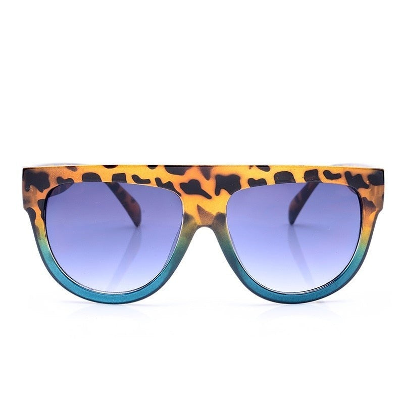 Flat Top Oversized Square Sunglasses Women Gradient Summer Style Classic UV400
