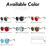 Xiu Gothic Steampunk Mens Sunglasses Vintage Metal Men Women Round Retro