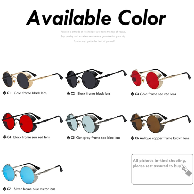 51147c64a80b ... Xiu Gothic Steampunk Mens Sunglasses Vintage Metal Men Women Round Retro