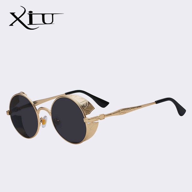 d2087e770438 Xiu Gothic Steampunk Mens Sunglasses Vintage Metal Men Women Round – FuzWeb