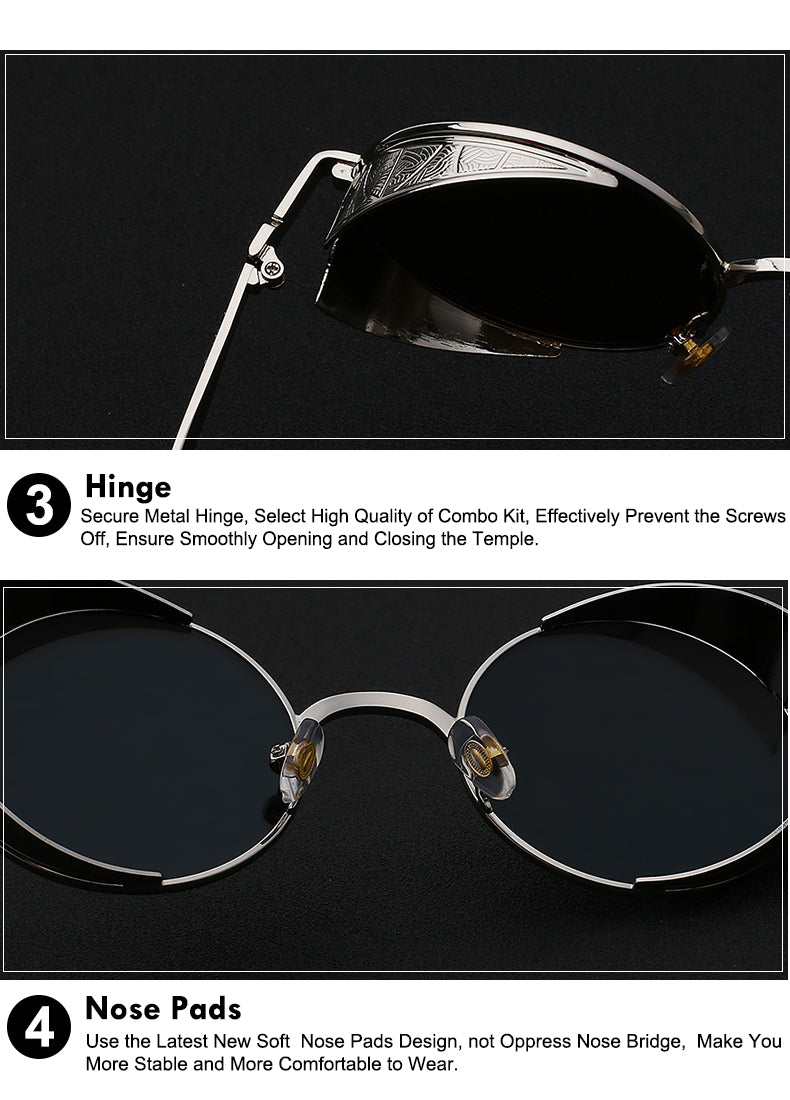 80fc188e8c53 ... Xiu Gothic Steampunk Mens Sunglasses Vintage Metal Men Women Round  Retro ...