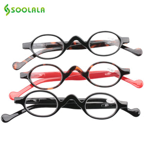 Soolala Brand Reading Glasses Men Women 3 Pcs Small Round Plastic Magnifying Presbyopic +1.0 1.5 2.0 2.5 3.5 4.0