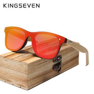 Kingseven Siamese Lens Sunglasses Men Bamboo Women Red Mirror Y5788F1