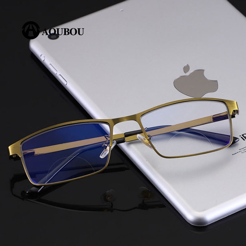 Aoubou Brand Unisex Reading Glasses Large Size Bifocal Indoor And Outdoor Multifunction Discoloration Anti-Blue Light Ab957