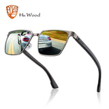 Hu Wood Brand Men'S Square Metal Frame Sunglasses Spring Wood Temple With Polarized Lenses 4 Colors Gr8037