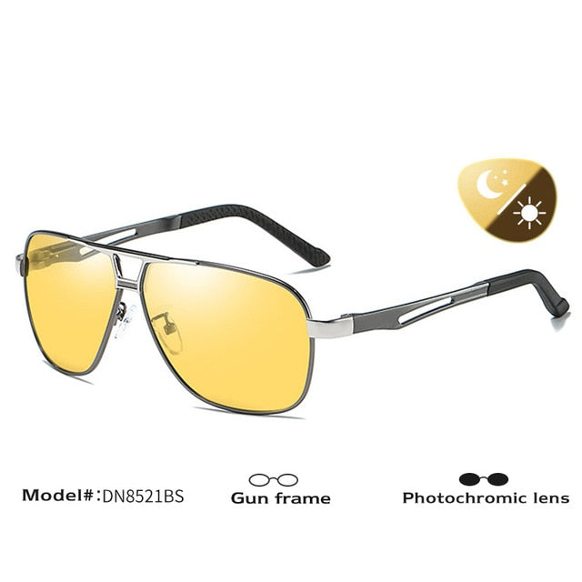 Photochromic Polarized Sunglasses Men Retro Aviation Night Vision Glasses Driving Chameleon Dn8521Bs