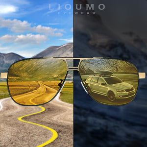 Lioumo Brand Photochromic Sunglasses Polarized Men Sunglasses Hd Day & Night Vision Driving