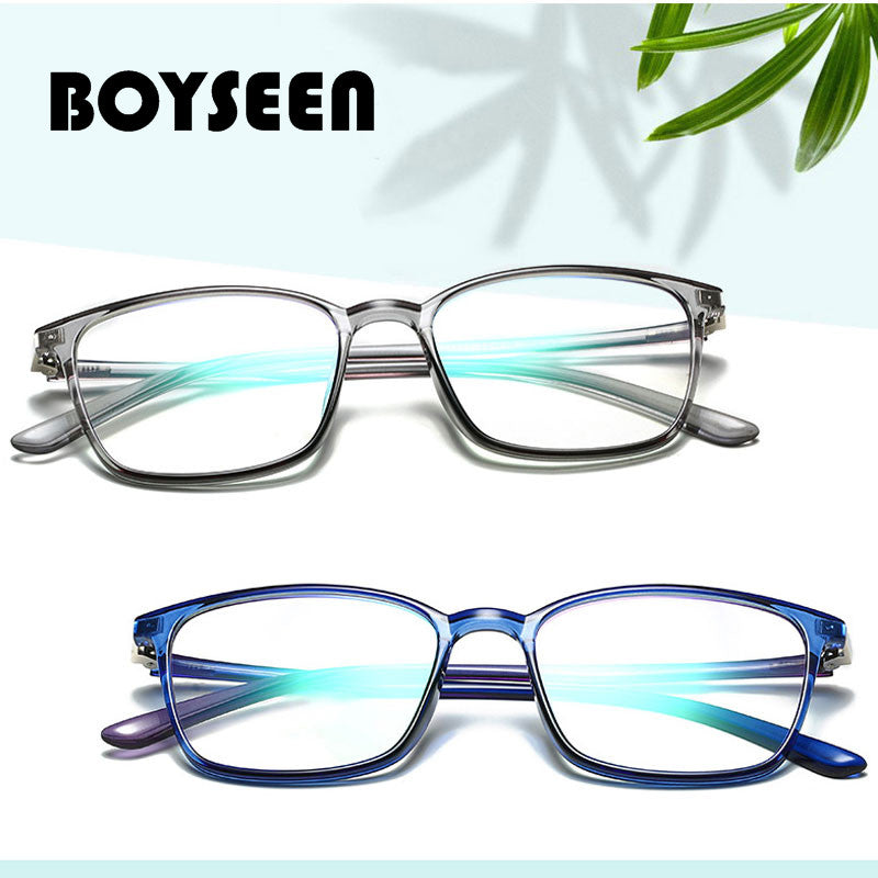 Boyseen New Tr Integrated Nose Pads Blu-Ray Flat Mirror Ultra Light Computer Goggles Literary Square Optical Glasses 11761