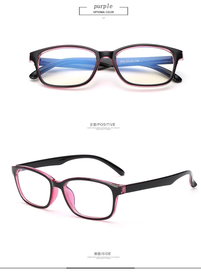 Computer Glasses Frames Anti Blue Rays Radiation Men Women Square Eye Pc Glasses Frames Unisex Optical Print Glasses Pc 3028