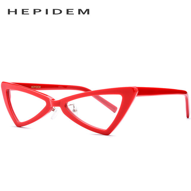 HEPIDEM Women's Eyeglasses Acetate Transparent Clear Eyewear Cat Eye 9110