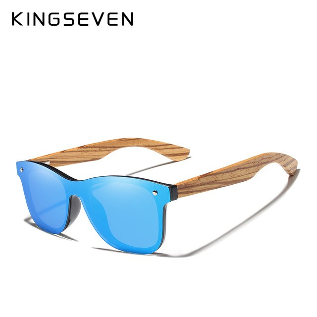 Kingseven 2019 Handmade Zebra Wooden Polarized Mirror Sunglasses Men Women N-7215