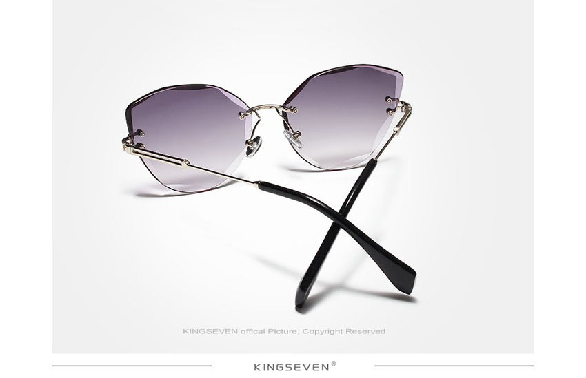 Kingseven Rimless Cat Eye Sunglasses Women Gradient N801