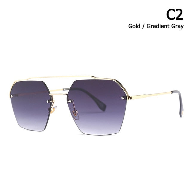 Jackjad 2019 Semi-Rimless Sunglasses Women Gradient 25034