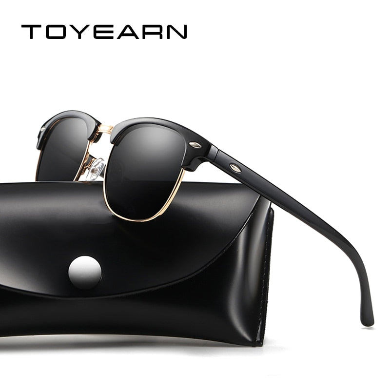 Toyearn Classic Half Frame Polarized Sunglasses Women Men Vintage Driving T0535