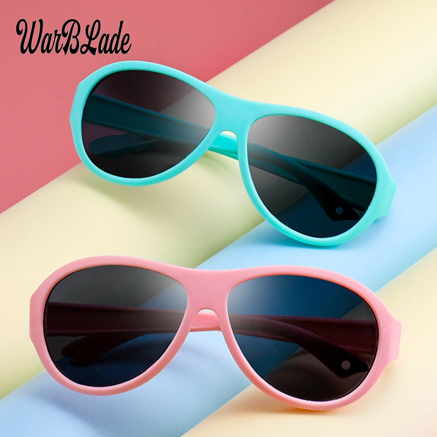 Warblade Square Polarized Sunglasses Kids Silicone Tr90 Girls Boys Mirror B-R02