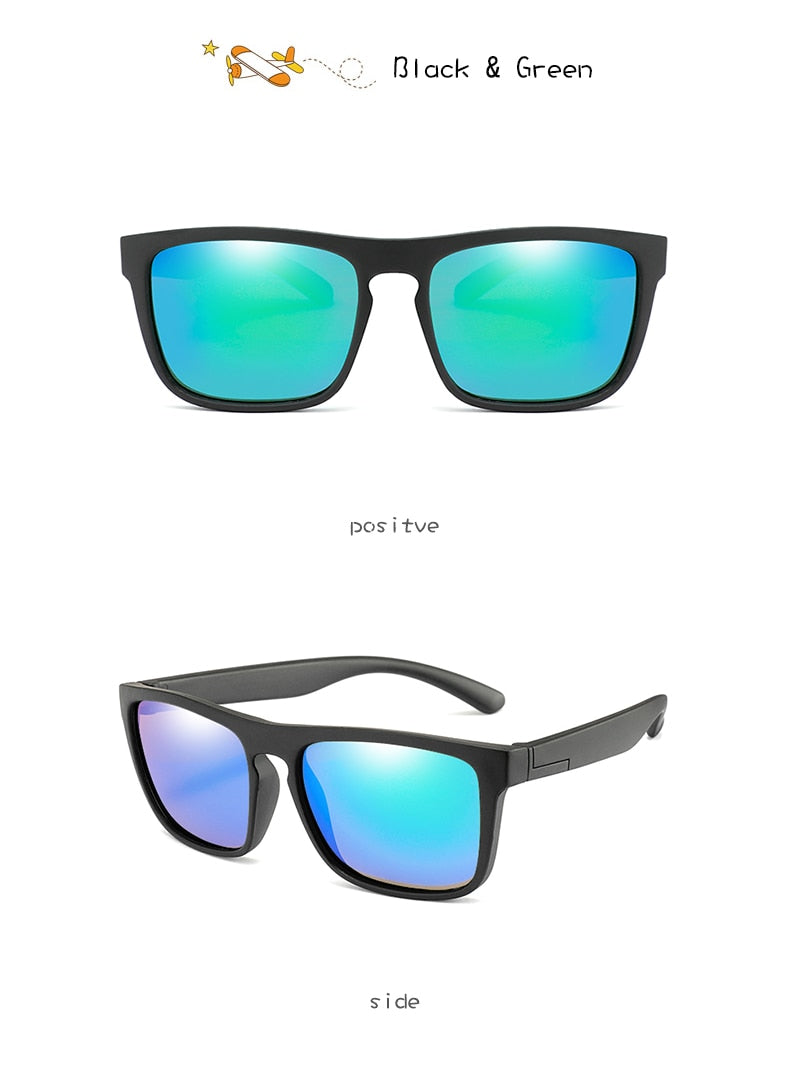 Wbl Square Polarized Sunglasses Kids Tr90 Girls Boys Mirror R03-B