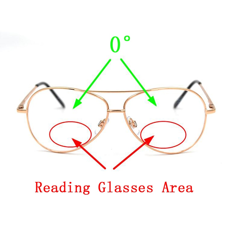 Unisex Bifocal Focus Reading Glasses Magnifier Gold Pilot Goggles Presbyopic Eyeglasses Double Beam Presbyopia Spectacles L3