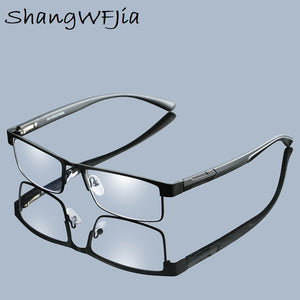 Unisex Titanium Alloy Reading Glasses Non spherical Retro Business Hyperopia Prescription Eyeglasses