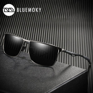 BLUEMOKY Rectangle Sunglasses Men HD Polarized UV400 Polaroid Black Aluminum Alloy Sports BT6104