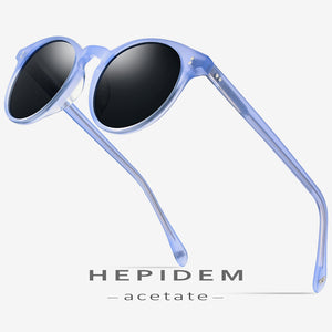 HEPIDEM Women's Sunglasses Acetate Polarized Vintage Retro Round 9113