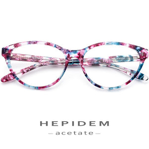 HEPIDEM Women's Eyeglasses Acetate Cat Eye Prescription 9111