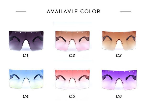 Oversized Women Gradient Sunglasses Crystal Blue Purple Rimless Square GV0280