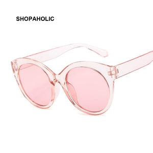 SHOPAHOLIC Brand Vintage Pink Cat Eye Sunglasses Women Fashion Brand Designer Round
