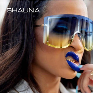 SHAUNA Ins Popular Oversize One Piece Rimless Goggle Sunglasses Women Fashion Windproof SH94300