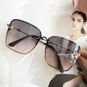 Unisex Square Bee Sunglasses Women Brand Designer Metal Frame Big K32220