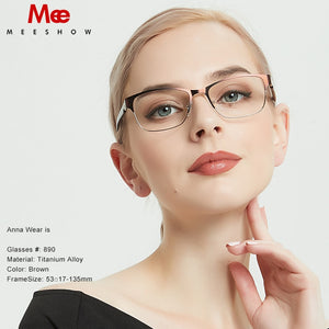 Meeshow Women's Eyeglasses Titanium Alloy Myopia Prescription Dennmark Glasses 809