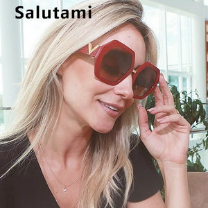 Polygon Red Frame Sunglasses For Women Luxury Brand Letter V Leg Vintage Black SH277