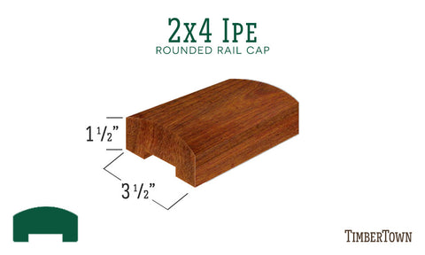 2x4 Ipe Rounded Rail Cap