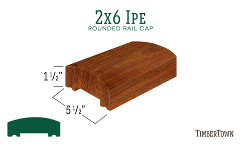2x6 Ipe Rounded Rail Cap